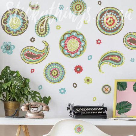 Decorative Paisley Wall Decals in a home office
