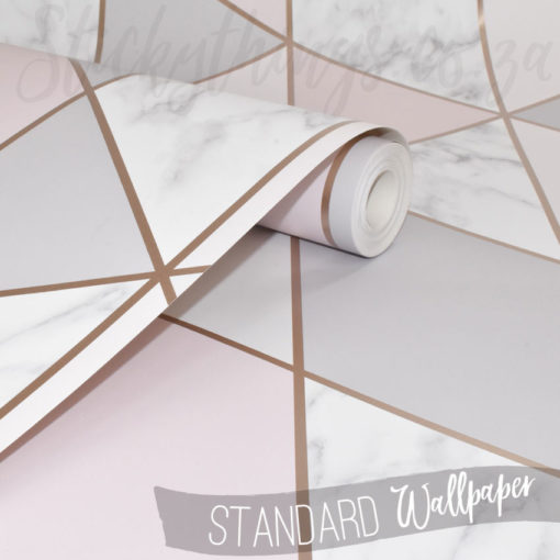 Close up of the roll of Geometric Pink, Marble and Rose Gold Wallpaper