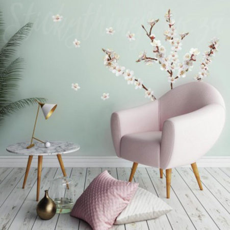 Branch in Bloom Wall Decal in a meditation room with a chair