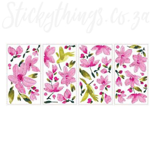 4 Sheets of the Pink Flowering Vines Wall Decal