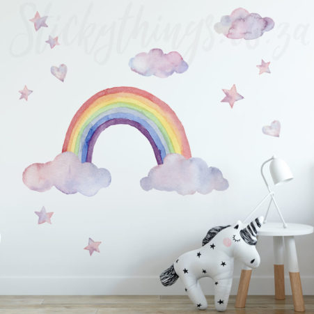 Watercolour Rainbow Wall Decals in a playroom