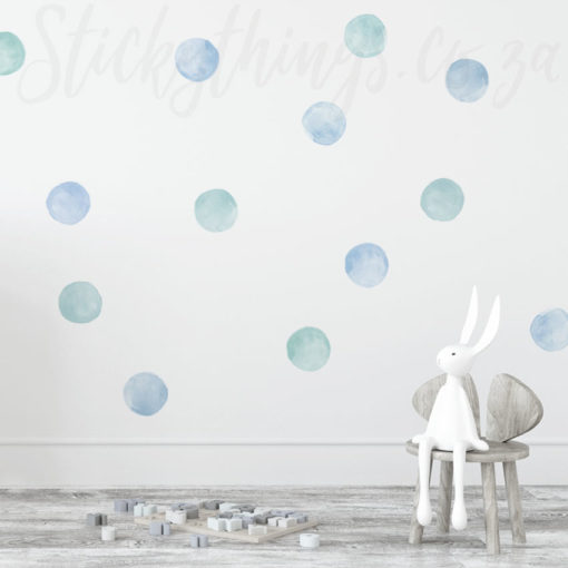 Blue Watercolour Dots in a Boys Bedroom