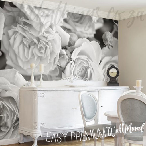 Grey Rose Petals Wall Mural in a Dining Room