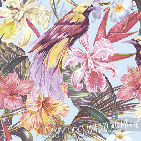 Detail of the birds and flowers in the Exotic Flowers Wall Mural