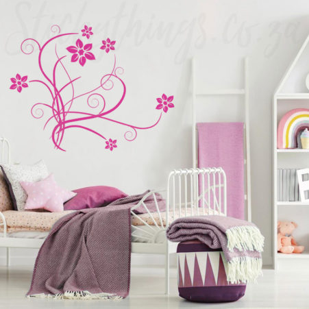 Pink Floral Scroll Wall Sticker in a girls bedroom