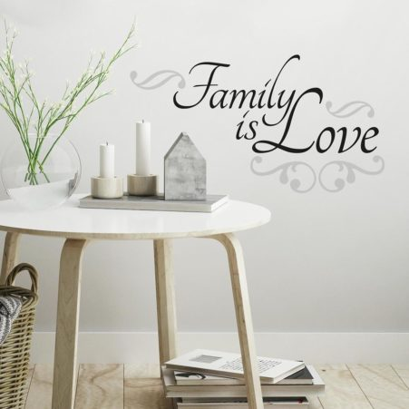 Peel and Stick Family Wording Wall Art in a Lounge