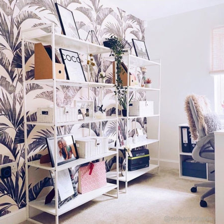 Banana Palm Wallpaper in a home office