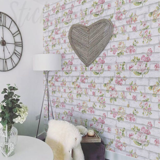 Floral Brick Wallpaper in a dining room