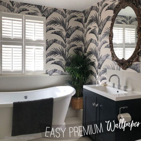 The Banana Palm works so well as a bathroom wallpaper