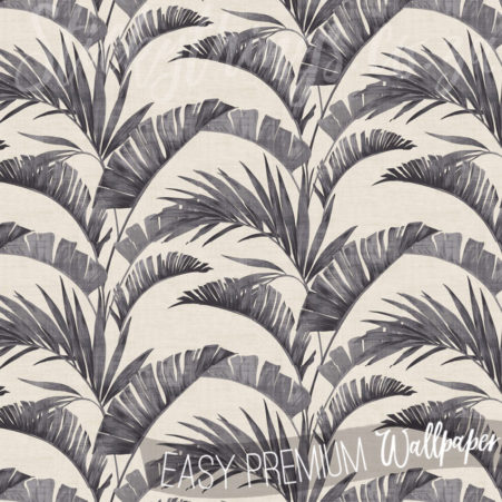 Banana Palm Leaves Wallpaper in charcoal and off-white