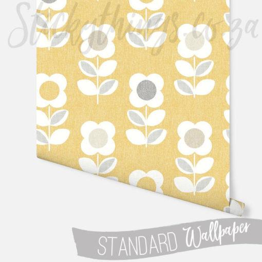 Roll of Retro Yellow Flower Wallpaper