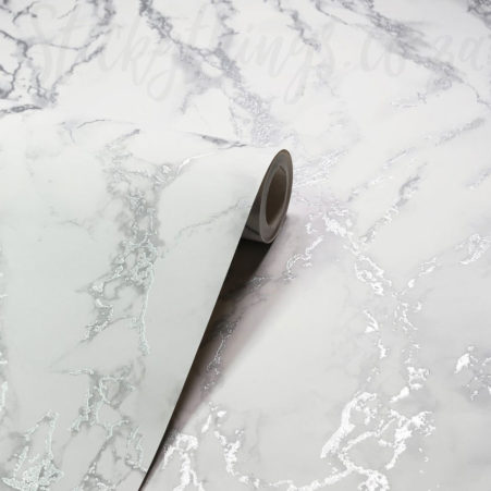 Showing the metallic shimmer of the Silver Marble Wallpaper