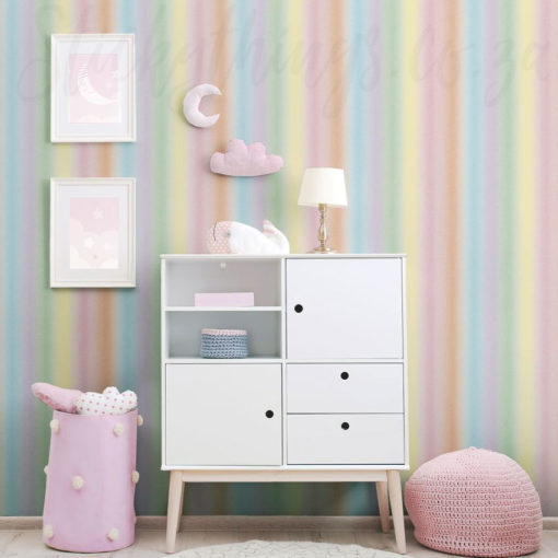 Rainbow Stripes Wallpaper in a Baby Nursery