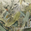 Detail of the botanic illustrations of large banana leaves of the Vintage Tropical Wall Mural