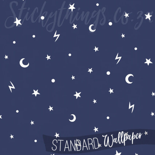 Showing the hand-drawn style of the stars and moons in the Glow in the Dark Stars Wallpaper