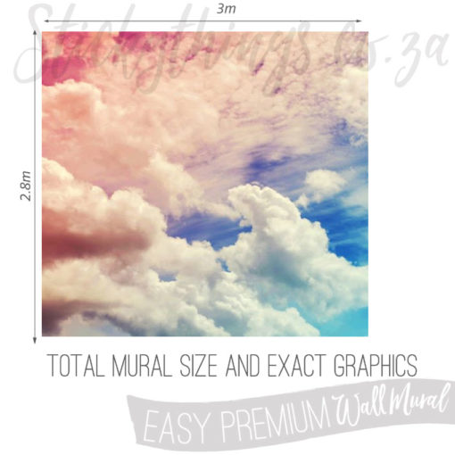Exact measurements (3m x 2.8m) of the Pink and Blue Pastel Clouds