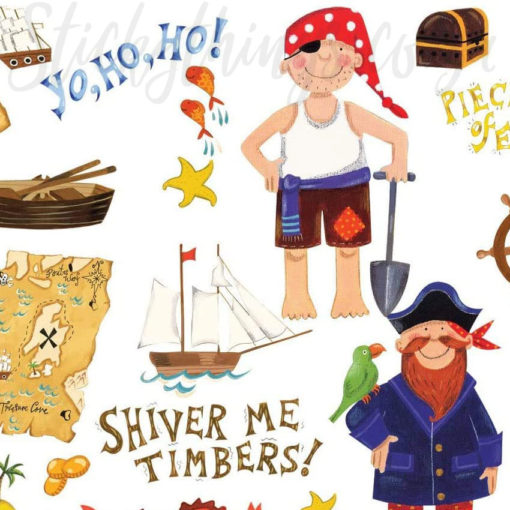 Close up of the hand painted pirates in the Cartoon Pirate Wall Decals