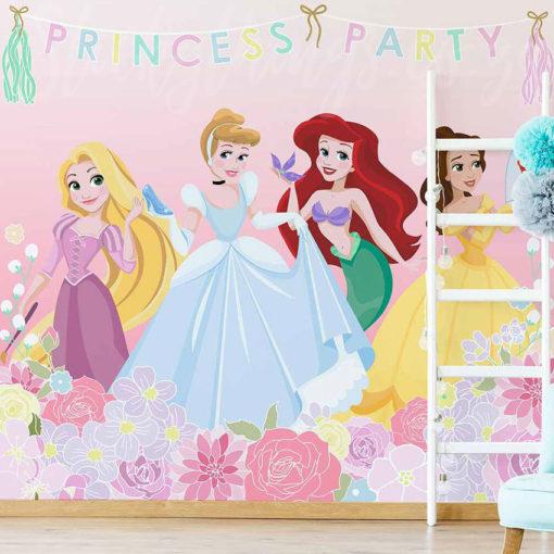 Large Princess Party Wall Mural in a Playroom