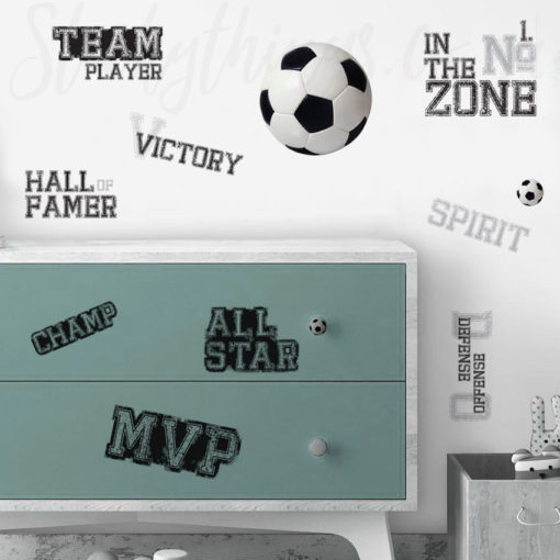 Soccer Words Wall Stickers in a Teen Room