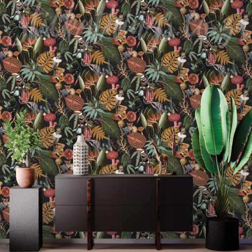 Reverie Black wallpaper on a wall behind a small table